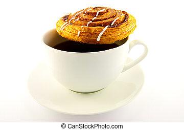 Cinnamon Bun and Cup of Tea