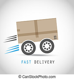 Cardboard box on wheels vector