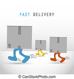 Courier delivery men boxes vector