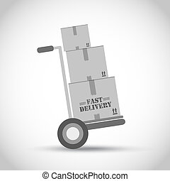 Fast delivery hand truck vector