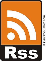 Rss Sign - 2d render of orange rss sign isolated on white