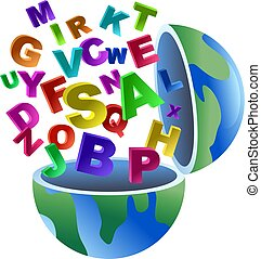alphabet globe - An open world globe with letters of the...