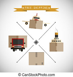 Free shipping carriers vector background