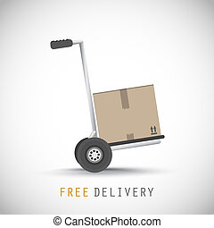 Hand truck with free delivery box vector