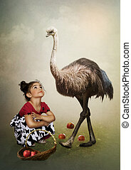 Girl and Australian Emu - Little girl with basket of apples...