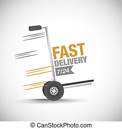 Fast delivery hand truck vector background