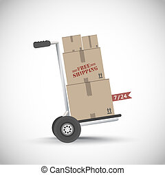 Free shipping hand truck vector