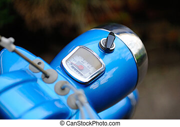 Retro moped cockpit with blurred background - Retro moped...