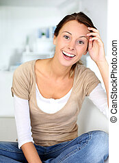 Cheerful young woman enjoying life