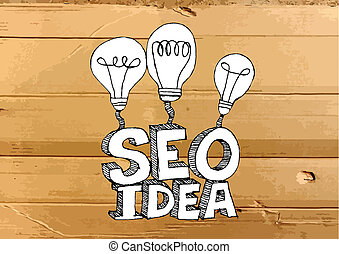 Seo Idea SEO Search Engine Optimization on Cardboard Texture...