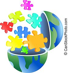 puzzle globe - An open globe with jigsaw puzzle pieces...