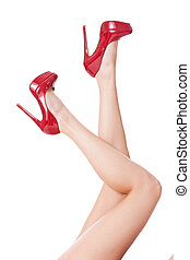 Sexy bare female legs in elegant red stilettos - Sexy long...
