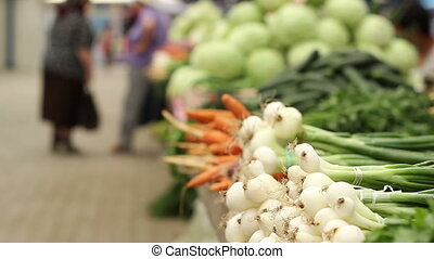 Fresh Vegetables Market - Bunch of green onions and other...