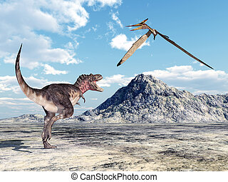 Tarbosaurus and Pteranodon - Computer generated 3D...