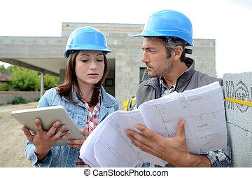 leitura, equipe, construção, local, plano