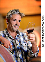 Winemaker looking at red wine in glass