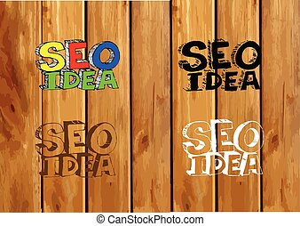 Seo Idea SEO Search Engine Optimization on wood background...
