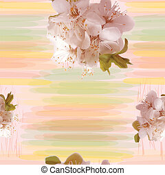 Seamless pattern with blossom cluster of cherry on grunge...