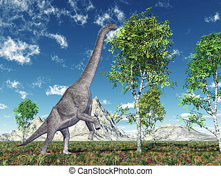 Dinosaur Brachiosaurus - Computer generated 3D illustration...