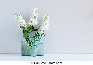 Vintage home decor background, white matthiola flowers in...
