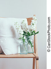 home decor - Vintage home decor, white matthiola flowers in...