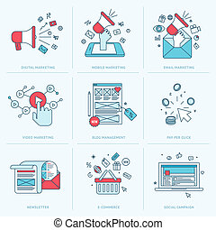 Flat line icons for marketing - Set of flat line icons for...
