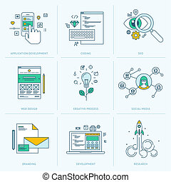 Flat line icons for web development - Set of flat line icons...