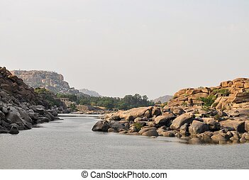 Ancient ruins of Hampi, Karnataka, India - Ancient ruins of...