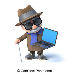 3d Blind man has a laptop pc - 3d render of a visually...