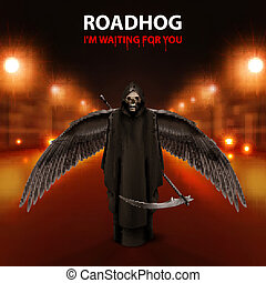 RoadHog Ilustration of black scytheman with wings and text-i...