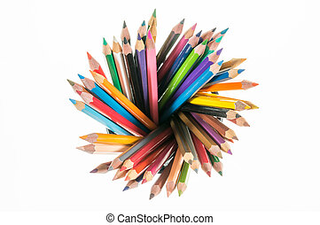 many different colored pencils on top look like radius with...