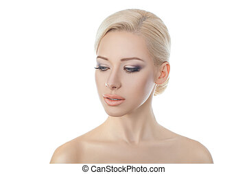 Beautiful young blond woman - Close-up portraits blonde girl...
