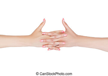 Women's clasped hands. - Beautiful female hands clasped...