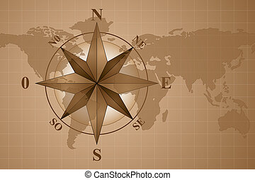 Map world and compass rose - compass rose on map world,...