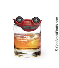 toy car on glass of whiskey as traffic accident due to...