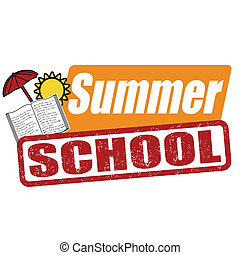 Summer school stamp - Summer school grunge rubber stamp on...