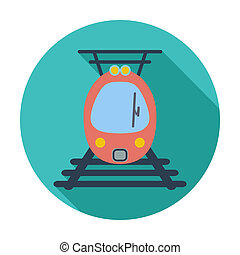 Suburban electric train Single flat color icon Vector...