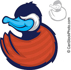 Duck Mascot - Illustration of a blue billed duck character