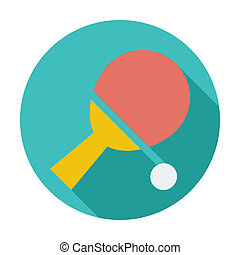 Table tennis. Single flat color icon. Vector illustration.