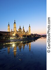 Pilar - View of the basilica of the Virgen del Pilar and...