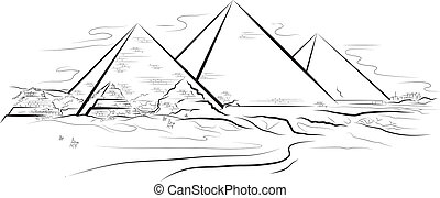 Drawing color piramids and desert in Giza, Egypt Vector...