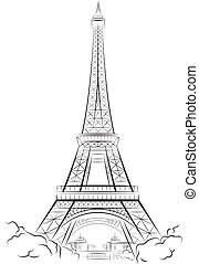 Drawing Eiffel Tower in Paris, France Vector illustration