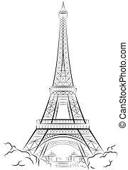 Rysunek, Eiffel, wieża, Paryż