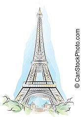 Drawing color Eiffel Tower in Paris