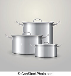 Vector illustration of three aluminum saucepans - Three...