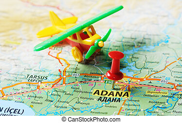 Adana ,Turkey map airport - Close up of Adana ,Turkey map...