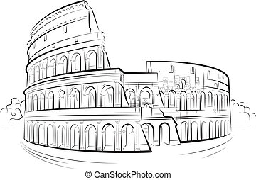 Drawing Colosseum, Rome, Italy. Vector illustration