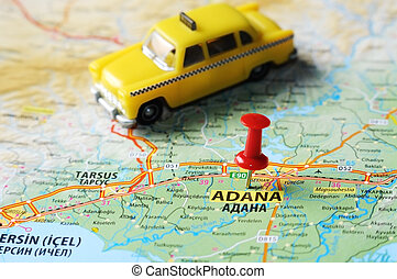 Adana ,Turkey map taxi - Close up of Adana ,Turkey map with...