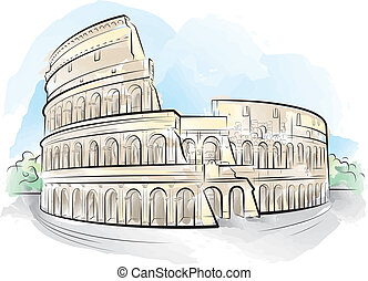 Drawing color Colosseum, Rome, Italy. Vector illustration