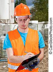 ingeniero, Durante, edificio, inspección